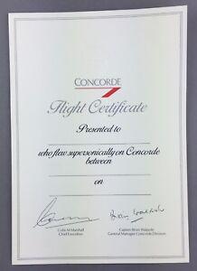 BRITISH AIRWAYS BLANK UNUSED CONCORDE FLIGHT CERTIFICATE VINTAGE BA SUPERSONIC