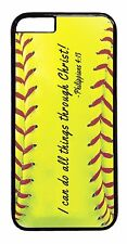 Softball Case Cover for iPhone 4s 5 5s 5c 6 Plus Christian Bible verse I Can Do