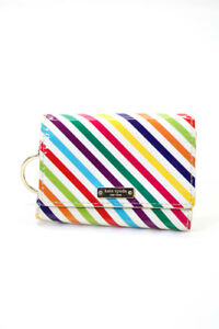 Kate Spade Womens Stripe Patent Leather Wallet White Multicolor
