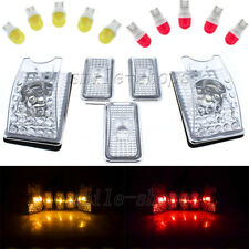 10x Clear Roof Cab Marker Cover + T10 Amber Red Ceramic Bulb for 03-09 Hummer H2