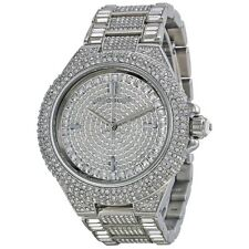 NEW Michael Kors MK5869 Camille Silver Crystal Pave Quartz 43mm Ladies Watch