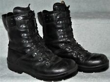GERMAN ARMY MENS BLACK LEATHER 'JUMP' BOOTS 7 UK WATERPROOF PARATROOPER HIGH LEG