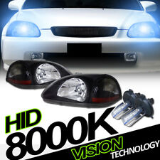 8K Hid Xenon+Jdm Blk Headlights Headlamps Parking Amber DY 96-98 Honda Civic EK
