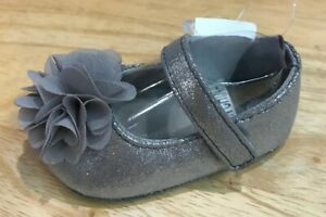 Baby Deer Silver Sparkle Shimmer Mary Jane Shoes with Flower  Baby Size 0 1 2