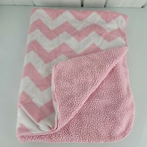 Circo Target Pink White Chevron Zigzag Baby Blanket Sherpa Security Lovey