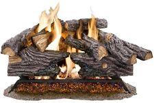 24 In Split Oak Vented Natural Gas Log Set Dual Burner Chimney Fireplace Fire G