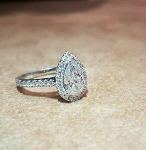 5Ct ( 14X10MM) Pear White Moissanite Halo Wedding Engagement Ring 14K White Gold