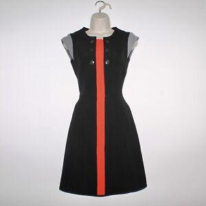 Womens KAREN MILLEN Casual Black Red Pinafore Dress Size UK 6