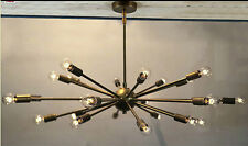 BRASS SPUTNIK ATOMIC CHANDELIER STARBURST LIGHT FITTING MID CENTURY MOD 24LIGHTS