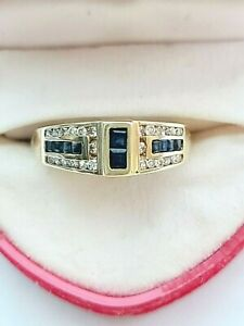 Vintage 14K Yellow Gold Genuine DIAMOND and Princess SAPPHIRE Ring Size 7.5 $950