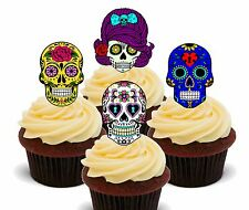 Calaveras de Azúcar Comestibles Cupcake Toppers, Decoraciones De Hadas Cake Bollo