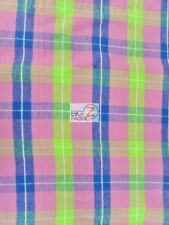 TARTAN PLAID UNIFORM APPAREL FLANNEL FABRIC - Mutli-Color Pink - BY THE YARD