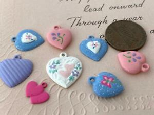 Vintage Enameled Metal Heart Charms Mix 8