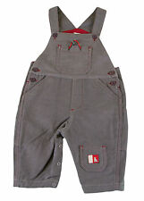 JACADI Boy's Algue Gray / Red Detailed Cotton Overalls Size 6 Months NWT $58