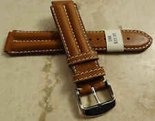 France Brown Padded Oil Leather 18mm Reg Watch Band Chrome Tone Buckle $33.95