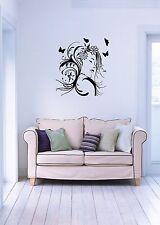 Wall Stickers Vinyl Decal Beautiful Woman Hair Butterflies ig641