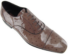 CESARE PACIOTTI PATENT OSTRICH EMBOSSED OXFORDS US 9 ITALIAN DESIGNER MENS SHOES