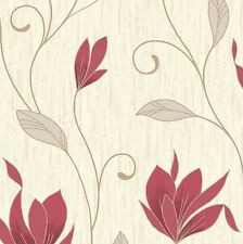 NEW!!! Rich Red /Silver Glitter-M0781-Synergy Floral Textured Vymura Wallpaper