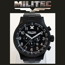 MILITEC Pilot Chronometer Black PVD Military/Army Watch 100m Water Resist PC-001