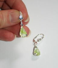Vintage Czech apple green givre crystal pear dangle silver plated earrings