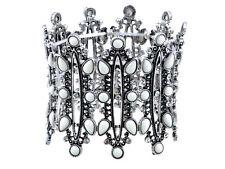 Fashion Women Silvery Tone Antique European Style Cuff Bangle Bracelet Jewelry