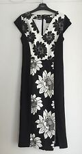 NEXT Fitted Floral Monochrome Dress Size 8