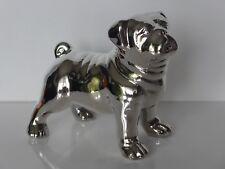 Deko Figur HUND MOPS XL Silber Hochglanz Chromoptik Skulptur Objekt Keramik
