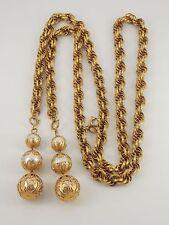 Vintage Park Lane Gold Tone Faux Pearl Tassel Necklace