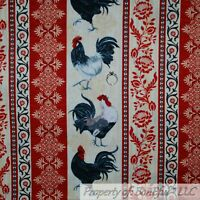 BonEful FABRIC FQ Cotton Quilt Red Tan Chicken Rooster Farm Stripe Flower Damask