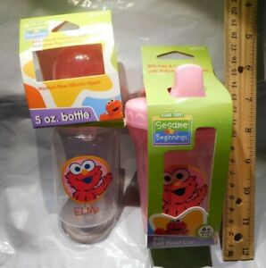 2 Sesame Street Beginnings Pink Elmo Baby Feeding: 5 oz Bottle Nipple & 8 oz Cup
