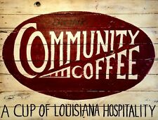 "TIN SIGN ""Community Coffee"" Caffeine Deco  Garage Wall Decor"