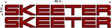 """SKEETER Boats Side Logos / PAIR / 46"""" RED Vinyl Vehicle Watercraft Decals"""