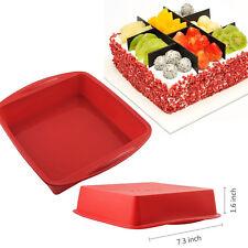 Red Food Grade Silicone Square Bread Cake Mold Lasagna Baking Pan (7.3×1.6 inch)