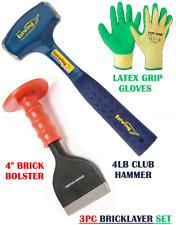 "3Pc Bricklayer Set, Estwing Club Hammer EB3/4LB, 4"" Brick Bolster & Latex Gloves"