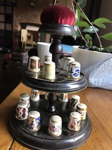 Royal Crown Derby Set of 15 Thimbles with Pin Cushion / Display Stand