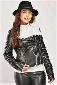 ANGELLE Black Faux Leather Teddy Fur Lined Jacket UK 8-10 BNWT Biker Soft