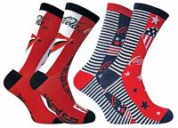 Coca Cola - 2 Pack Ladies Funky Patterned Novelty Cotton Crew Socks with Stripes