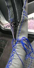 FOR PEUGEOT 505 1979-92 GREY TWO TONE LEATHER STEERING WHEEL COVER R BLUE STITCH