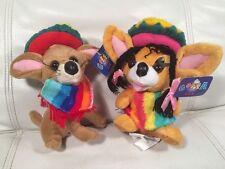 Plush Goffa International Chihuahua Pablo Wearing Sombrero & Sarape Poncho PAIR!