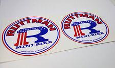 Pair of RUTTMAN Mini Bike Vintage Style DECALs, Vinyl STICKERs, 3 Inches
