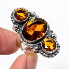 Vintage Style Golden Topaz 925 Sterling Silver Jewelry Ring s.8 F235659