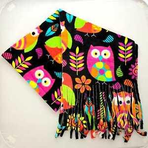 Owl Birds fun bright vibrant Mens Ladies Thick Warm Winter Fleece Scarf