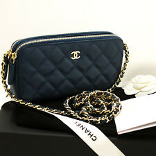 p14 CHANEL Authentic Caviar Navy Wallet On Chain WOC W Zip Chain Shoulder Bag