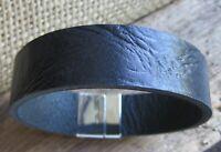 Wasserbüffel Leder Armband Herren Männerarmband schwarz Magnetverschluss Biker