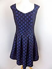 Pepperberry Spotty Party Dress, 10 Really Curvy black blue metallic polka dot