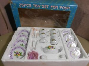 Children China Tea Set Pansy Detail 22 Pieces Delton