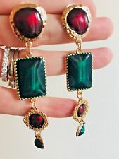 BEAUTIFUL ZARA  GREEN RED ENAMEL GOLD MOGUL LOOK STATEMENT EARRINGS