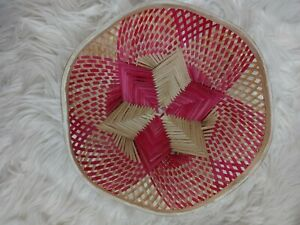 Vintage Woven Rattan Handmade Decorative Bowl Basket Pink Room Decor Wall Art