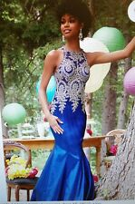 Women's Royal Blue/Gold Bridesmaid Prom Evening Formal Cocktail Dress