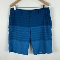 Hurley Mens Board Shorts Size 36 Blue Striped Swim Shorts